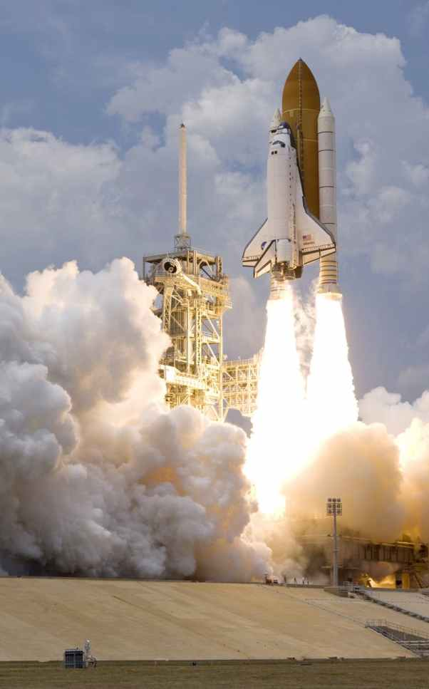 white shuttle spaceship takes on